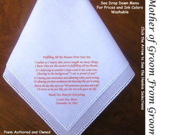 Mother of the Groom Gift Handkerchief From the Groom 0806 Sign & Date Free!  5 MOG Wedding Hankerchief Styles and 8 Ink Colors.