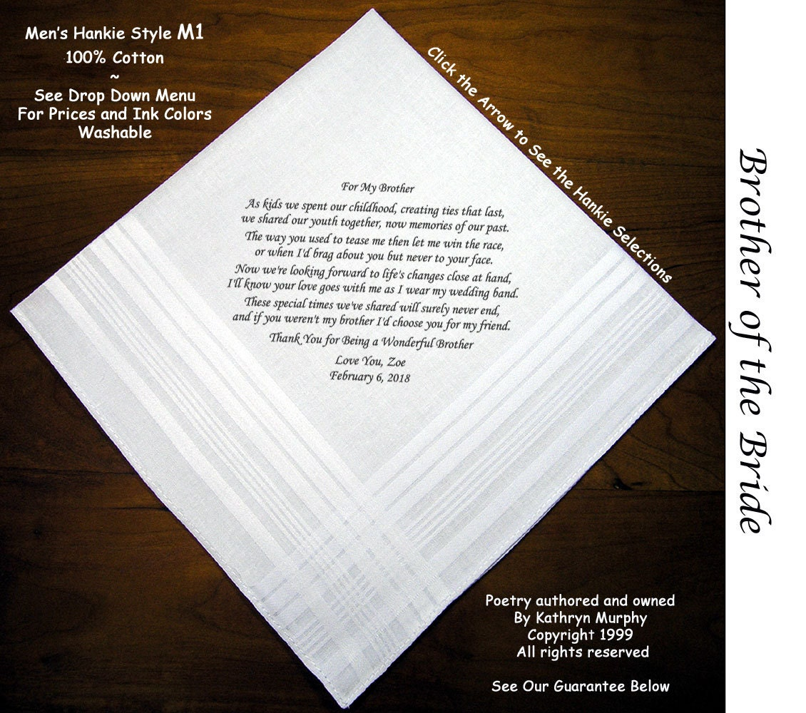 Brother Wedding Gift: Brother Of The Bride Gift Wedding Handkerchief 1101 Sign And