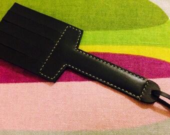 Handmade-Bdsm-fetish- Short Quadrate Black Leather Double Layer-New