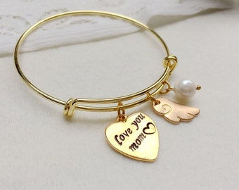 Mommy gift for mom gift, mother bangle, mommy bracelet, love you mommy bracelet, heart tag bracelet personalized bangle for mom gift for mom