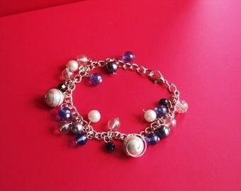 Blue and Cream Beaded Silver Plated Bracelet