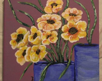 Yellow Flowers Acrylic Painting On Canvas