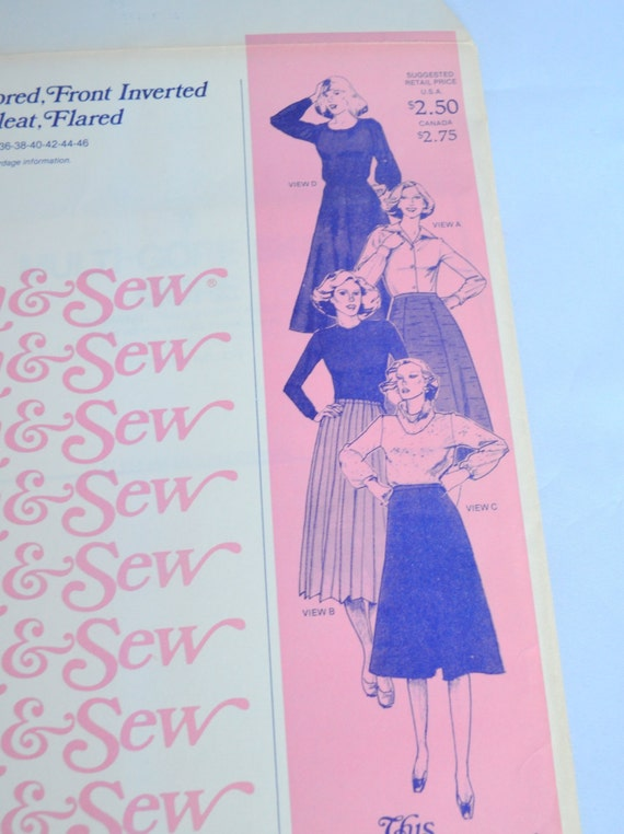 Stretch Knit Sewing Patterns : Vintage Knit Pattern Stretch & Sew 430 Skirts: Gored Front