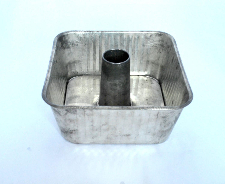 Vintage Square Bundt Pan Angel Food Cake Pan Ribbed Aluminum