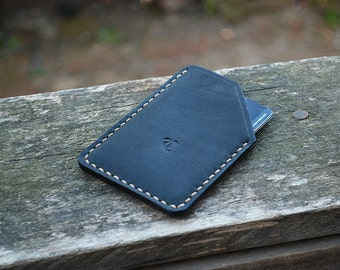 Card Sleeve Black - Card Holder minimal style Cardholder Hand stitched using waxed thread. Taffer Leather Goods.