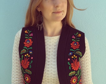 Vintage Hand Embroidered Wool Vest
