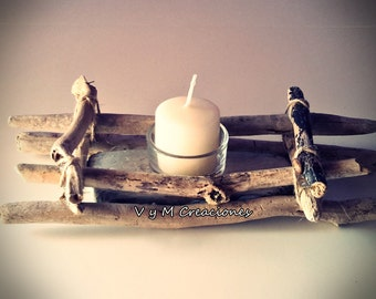 Simple candle holders wood sea, driftwood candle holder