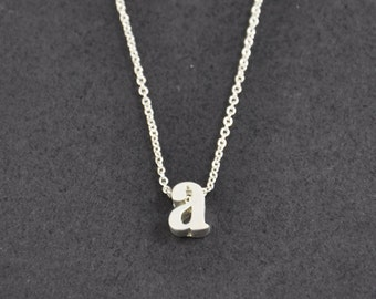 Silver Initial necklace, Silver Lowercase Initial Necklace, Letter Necklace, Personalized bridesmaid necklace, Wedding gift