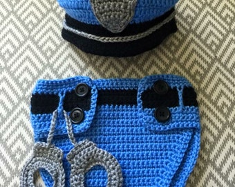 Handmade Crochet Baby Police Officer Photo Prop