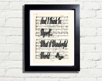 Nat King Cole I Think To Myself What A Wonderful World Music Lyrics Quote INSTANT DIGITAL DOWNLOAD A4 Printable Art Print Home Gift Idea