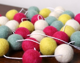 Gumball Felt Ball Garland, Pink Yellow and Turquoise Girls Baby Shower Garland, Nursery Banner, Brithday Party Decor