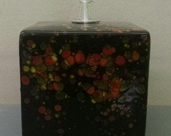 Masquerade Oil Lamp Square--Hand-Painted--Glazed Ceramic Bisque--Home-Patio-Garden Decor--Seasonal-Year Round Usage