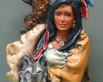 SALEWolf Maiden--Native American Indian Figurine--Heirloom Quality--Hand-Painted Ceramic--Home Decor--Native American Art