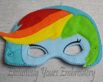 Blue Rainbow Pony Girl Little Pony Girl themed Children's Mask