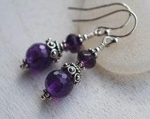 Amethyst Earrings, Sterling Silver Amethyst Earrings, Beaded Earrings, Vintage Style Amethyst Earrings, Silver Amethyst Earrings