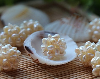 10pcs 15mm Natural Pearl White Pearl Ball Cluster Freshwater Pearl Beads Necklace Pendant
