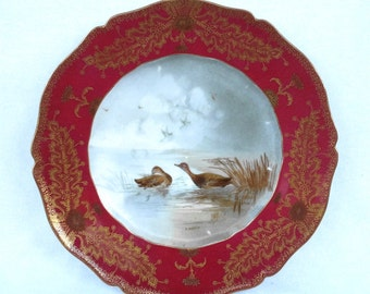 Porcelain Game Plate Ducks, Haviland Limoges, Transfer Printed, Hand Painted Details