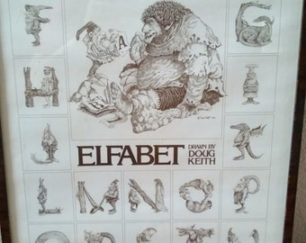 Rare Elfabet Print by Doug Keith 1980 Free Shipping