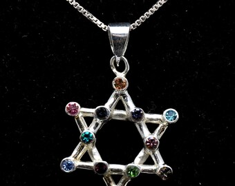 Magen David Pendant With 12 Gemstones Sterling Silver 925 Neck Chain
