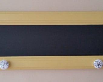 Repurposed Yellow Chalkboard Coat Rack