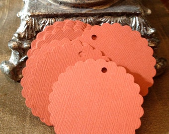 "Coral Tags, Scalloped Circle,Gift Tag, 2"", Favor Tag, Fancy Tag, Blank"