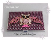 Swarovski Rhinestone Owl Business Card Holder, Credit Card Case with Genuine Swarovski Amethyst (Purple) Rhinestones-FREE SHIPPING