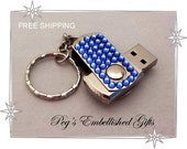 Swarovski Rhinestone USB Flash Drive Memory Stick, 32GB Data Memory Storage, Unique Handmade Custom usb Keychain ~ FREE SHIPPING