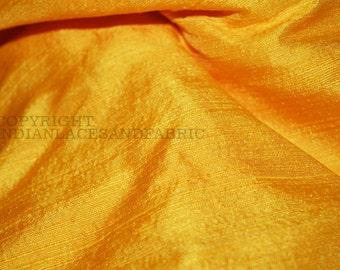 Pure Dupioni Silk fabric in Yellow -  raw silk fabric - Indian silk fabric byYard