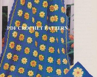 Vintage Daffodils & Narcissus Afghan, Crochet PDF Pattern