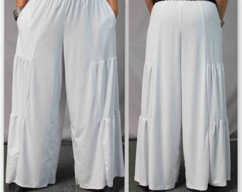 Comfy Plus Pants, White Pants, Tiered Pants, Plus Size Pants,Wide leg Pants, Lagenlook Pants, Palazzo Pants,  Size XL To 5XL