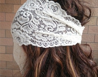 Ivory Lace Headband,  Stretchy Lacy Hair Bands,  Stretch Lace Headband,   Wide Lace Headband , coral Headband  T150213