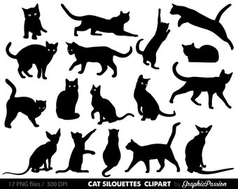 Cat Clipart Clip Art, Kitten Clipart Clip Art  Cute animals clipart Kitten illustration For Personal and Commercial Use/ INSTANT DOWNLOAD