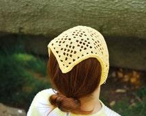 Head Kerchief, Crochet Hair Bandana, Crochet Lace Headband, Crochet Kerchief, Triangle Headband for Girl Teen Young or Woman, Head Covering