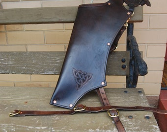 Back Quiver in 8 oz Leather hand stitched with copper rivets