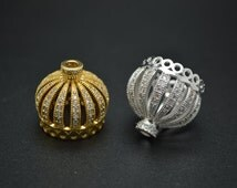 1pc 20mm Paved CZ Beads Crown Shape Beads Tassel Links Connector Pendant 18K Gold plating or Rhodium Color Jewelry Bead Caps Findings
