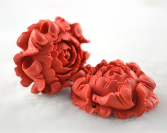 Beautiful Popular Carved Red Cinnabar Stone Flower Shape Pendant fit Fashion Jewelry Making