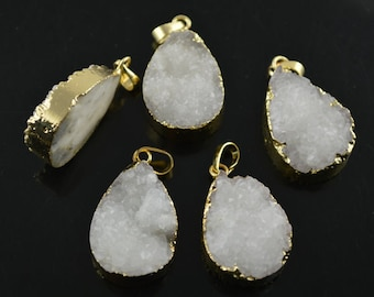 5pc Natural White Drusy Flat Pear Shape Gold color plating edge Stone Pendant DIY jewelry making materials