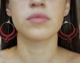 Boho style, red & black, micro macrame earrings!!