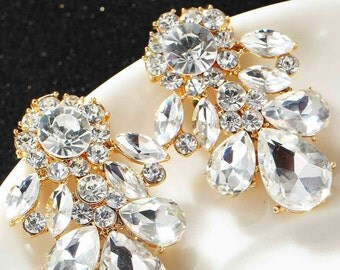 Vintage  earrings - Statement earrings  -  Bridal Earrings - Crystal Cluster Errings