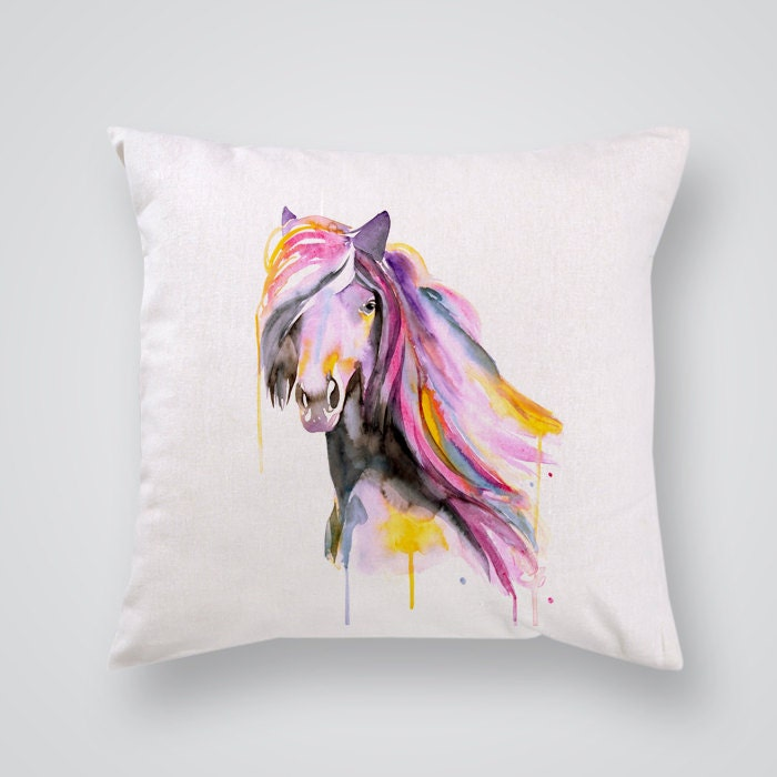 Horse Decorative Pillow Affordable Art Throw by WatercolorMary