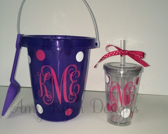 Monogrammed Sand Bucket and 12oz Child Tumbler, Monogrammed Flower Girl Gift, Personalized Sand Bucket and Child Tumbler, Monogrammed Bucket