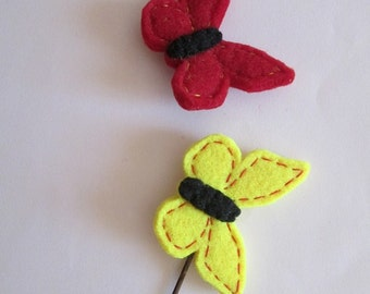 Set of two hair pins with Felt Butterflies - Yellow and Red Butterflies - Back to school - Gift under 10 - Children Hair Pins