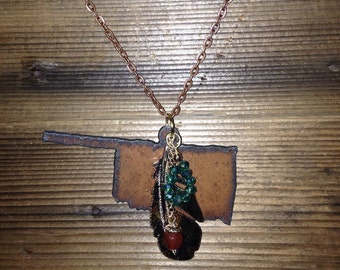 "Trail of Tears | State of Oklahoma Rusted Metal Cutout | Gold Feather | Antique Copper 24"" Chain"