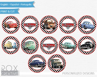 Disney Cars Birthday Cupcake Toppers, Cars Favor Tags, Napkin Rings, Digital – Customized