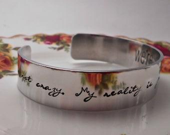 We're all Mad here - Alice in Wonderland Cuff Bracelet - Hand Stamped Cuff -Lewis Carroll Jewelry/Jewellery - Custom - Add a Name/Date