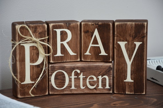 Pray Often Wood Blocks Religious Gift Rustic Home By RusticVue