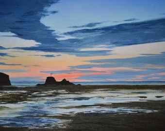 The beach at Perranporth in Cornwall at sunset, A limited edition digital art print from my acrylic painting. A lovely Cornish seaside scene