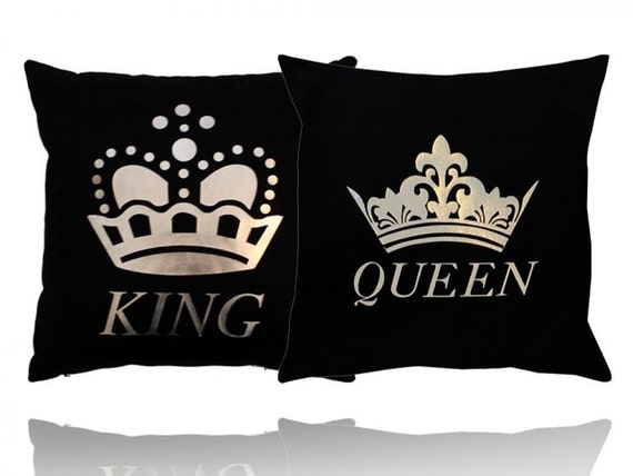 King And Queen Decorative Pillows : Items similar to Set of 2 Black King and Queen Pillow Covers, 40x40 King and Queen Pillow, Black ...