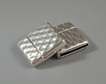 Antique Silver Hammered Magnetic Clasp, Clasp for 20mm flat leather, European made