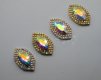 5 pcs Costume Dress Navette AB Rhinestone Applique Sewing On Button Silver/Golden A419